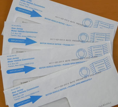 New Jersey Motor Vehicle Registration Envelopes All Sent At The Same Time To